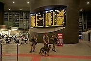 """Roma 23 Novembre 2015<br /> Attivo a partire da oggi 23 novembre, e per un anno, l'ordinanza con le misure di sicurezza previste a Roma per il Giubileo. Il piano, ideato dalla questura con la prefettura e forze dell'ordine, prevede un potenziamento dei controlli antiterrorismo su più di mille obiettivi considerati «sensibili». I paracadudisti della Folgore con il cane anti esplosivi durante i controlli alla stazione Tiburtina.<br /> Rome 23 November 2015<br /> Active from today on November 23, and for a year, the ordinance with the security measures provided in Rome for the Jubilee. The plan, devised by the police with the prefecture, provides for the reinforcement of anti-terrorism controls on more than a thousand goals considered """"sensitive"""". The paratroopers of the Folgore  with the  anti-explosives dog  during checks at Tiburtina station."""