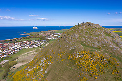 Aerial view of North Berwick from top of Berwick Law in East Lothian, Scotland, UK