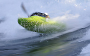 kayaking on Skookumchuck wave in British Columbia with motion blur