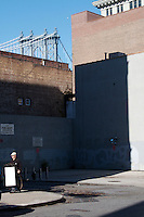 Empty lot and view of Manhattan Bridge from DUMBO Brooklyn  New York