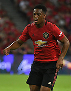Manchester United's Anthony Martial runs at the Inter Milan defence during an International Champions Cup game won by Manchester United 1-0 , Saturday, July 20, 2019, in Singapore. (Kim Teo/Image of Sport)