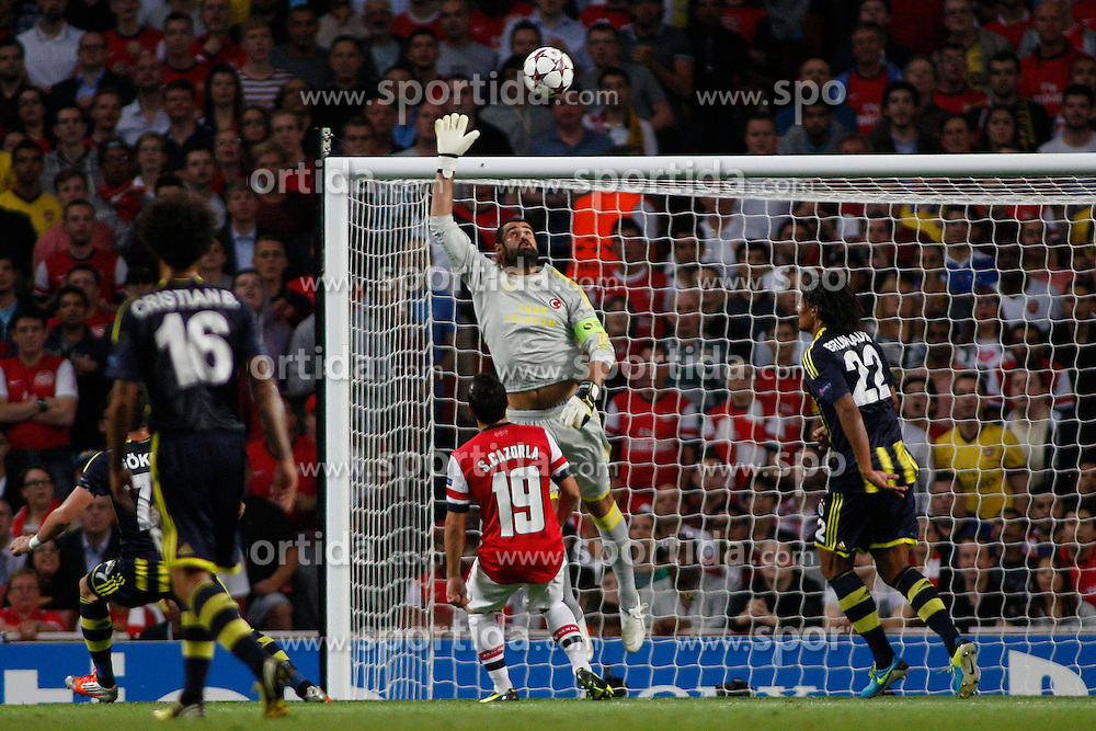 27.08.2013, Emirates Stadion, London, ENG, UEFA CL Qualifikation, FC Arsenal vs Fenerbahce Istanbul, Rueckspiel, im Bild Fernerbache's Volkan Demirel in action during the UEFA Champions League Qualifier second leg match between FC Arsenal and Fenerbahce Istanbul at the Emirates Stadium, United Kingdom on 2013/08/27. EXPA Pictures © 2013, PhotoCredit: EXPA/ Mitchell Gunn<br /> <br /> ***** ATTENTION - OUT OF GBR *****