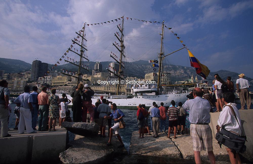 The  -  Captain Miranda -  school sailing ship (Colombia), during the Big parade Classic week,    Monaco        Le voilier école   - Captain Miranda  -  Colombie  durant la grande parade de la  - classic week -     Monaco   R00286/8    L4101  /  R00286  /  P0007573