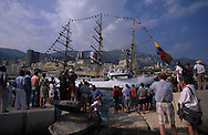 The  -  Captain Miranda -  school sailing ship (Colombia), during the Big parade Classic week,    Monaco        Le voilier école   - Captain Miranda  -  Colombie  durant la grande parade de la  - classic week -     Monaco   R00286/8    L4101  /  R00286  /  P0007573