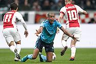 02-10-2016: Voetbal: Ajax v FC Utrecht: Amsterdam<br /> <br /> (L-R) FC Utrecht speler Ramon Leeuwin vraagt om een vrije trap tijdens het Eredivsie duel tussen Ajax en FC Utrecht op 2 oktober 2016 in stadion Arena in Amsterdam tijdens speelronde 8<br /> <br /> Eredivisie - Seizoen 2016 / 2017<br /> <br /> Foto: Gertjan Kooij