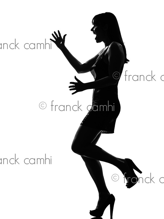 stylish silhouette caucasian beautiful woman happy welcoming surprised full length on studio isolated white bwelcoming amazed ackground