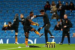Moses Odubajo of Hull City warms up - Mandatory byline: Matt McNulty/JMP - 01/12/2015 - Football - Etihad Stadium - Manchester, England - Manchester City v Hull City - Capital One Cup - Quarter-final