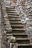 Ticino, Southern Switzerland. Steep, narrow, dry-stone stairway.