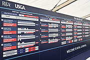 General view of the scoreboard in the media centre during the Sunday Foursomes in the Walker Cup at the Royal Liverpool Golf Club, Sunday, Sept 8, 2019, in Hoylake, United Kingdom. (Steve Flynn/Image of Sport)