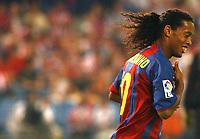 Barcelona's Ronaldinho during the match. Atletico de Madrid v Barcelona. Spanish League. Madrid September 19, 2004. Photo Alvaro Hernandez Graffiti