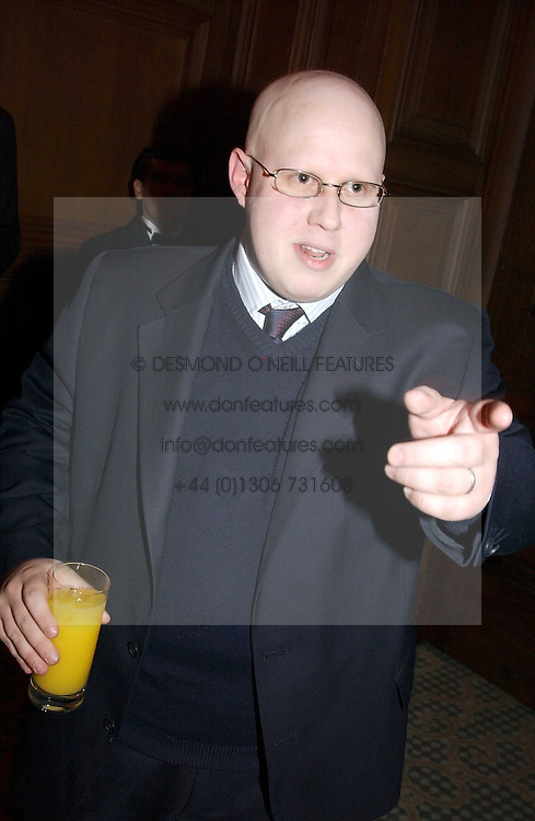 Comedian MATT LUCAS at a dinner hosted by footballer Patrick Vieira and the Diambars UK Charital Trust at The Landmark Hotel, 222 Marylebone Road, London NW1 on 3rd February 2005.<br />
