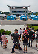 The Joint Security Area, Dmz, Panmunjom, North Korea.<br /> -American tourists can&rsquo;t come to North<br /> Korea?<br /> -Yes, they can! But we only allow them<br /> to stay for three days, and we make<br /> them pay a lot of money!