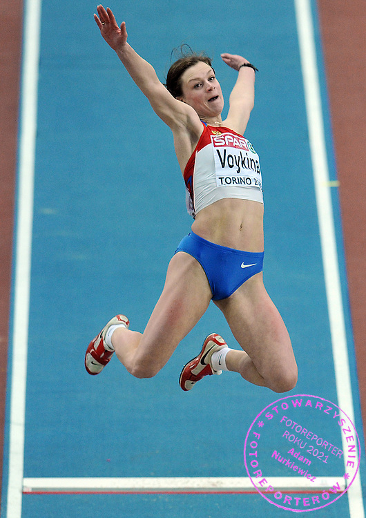 TATIANA VOYKINA (RUSSIA) COMPETES IN LONG JUMP WOMEN AT OVAL LINGOTTO HALL DURING EUROPEAN ATHLETICS INDOOR CHAMPIONSHIPS TORINO 2009...TORINO , ITALY , MARCH 06, 2009..( PHOTO BY ADAM NURKIEWICZ / MEDIASPORT )