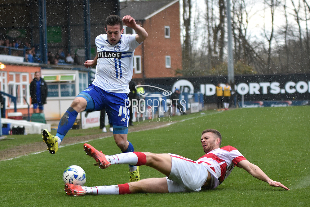 Bury Defender, Craig Jones ande Doncaster Rovers Defender, Aaron Taylor-Sinclair in action during the Sky Bet League 1 match between Bury and Doncaster Rovers at the JD Stadium, Bury, England on 9 April 2016. Photo by Mark Pollitt.