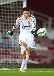 UPTON PARK, ENGLAND - Friday, September 12, 2014: West Ham United's goalkeeper Raphael Spiegel in action against Liverpool during the Under 21 FA Premier League match at Upton Park. (Pic by David Rawcliffe/Propaganda)
