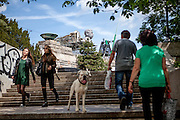 "Visitors at Letna Park in Prague. For a TV movie called ""Monstrum"" produced by the Czech Television a huge replica of Soviet dictator Joseph Stalin was installed at metronome in the Czech capital. From May 1, 1955, until it was destroyed at the end of 1962,  a giant granite statue of Stalin with a line of workers and scientists behind him was standing exactly at the same place."