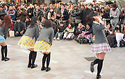 Young women in a music group called 'Osu' performing in Osu, a popular young people's fashion and shopping district in Nagoya, Japan.