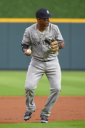 May 1, 2018 - Houston, TX, U.S. - HOUSTON, TX - MAY 01: New York Yankees infielder Miguel Andujar (41) makes a play at third during the baseball game between the New York Yankees and Houston Astros on May 1, 2018 at Minute Maid Park in Houston, Texas (Photo by Ken Murray/Icon Sportswire) (Credit Image: © Ken Murray/Icon SMI via ZUMA Press)