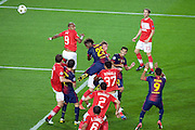 Alex Song of Barcelona goes close with a header in the second half of the Group G UEFA Champions League match between FC Barcelona and Spartak Moscow at the Nou Camp, Barcelona, Spain 19th September 2012. Credit - Eoin Mundow/Cleva Media.
