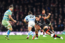 November 11, 2017 - London, United Kingdom - England's Alex Lozowski tackles Argentina's Nicolas Sanchez during Old Mutual Wealth Series between England against Argentina at Twickenham stadium , London on 11 Nov 2017  (Credit Image: © Kieran Galvin/NurPhoto via ZUMA Press)