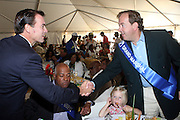 l to r: Nassau County Executive Tom Suozzi , Noel Hankin, Hennessey, USA and Mark Cornell, President, Hennessey USA at the 42 Annual West Indian Day Carnival Breakfast Co-Sponsored by Hennessey at Lincoln Terrace Park Tennis Court on September 7, 2009 in Brooklyn, NY