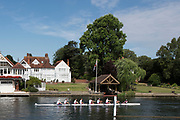 """Henley on Thames, United Kingdom, 4th July 2018, Wednesday, View,"""" Kings College School"""", paddle, their  """"damaged boat""""  on  first day of the, annual,  """"Henley Royal Regatta"""", Henley Reach, River Thames, Thames Valley, England, © Peter SPURRIER,"""