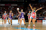 SYDNEY, AUSTRALIA - AUGUST 24: Caitlyn Nevins of the Queensland Firebirds looks to pass the ball during the round 14 Super Netball match between the Swifts and the Queensland Firebirds at Qudos Bank Arena on August 24, 2019 in Sydney, Australia.(Photo by Speed Media/Icon Sportswire)