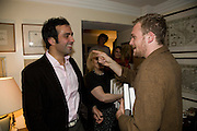 AATISH TASEER; ALEX FLICK, Aatish Taseer  book launch party for his new book Stranger To History. Travel book asks what it means to be a Muslim in the 21st century. Hosted by Gillon Aitken. Kensington, London. 30 March 2009