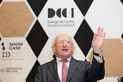 Repro Free: 18/01/2015<br /> Pictured at the opening of Showcase 2015, Ireland&rsquo;s largest international trade fair, is President of Ireland Michael D. Higgins and Chief Executive of the Design and Crafts Council of Ireland, Karen Hennessy. Showcase runs in the RDS until Wednesday, 21st January.  Picture Andres Poveda
