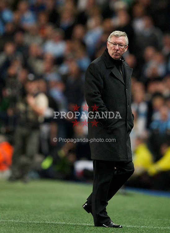 MANCHESTER, ENGLAND - Monday, April 30, 2012: Manchester United's manager Alex Ferguson against Manchester City during the Premiership match at the City of Manchester Stadium. (Pic by David Rawcliffe/Propaganda)