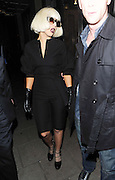 04.NOVEMBER.2010 LONDON<br /> <br /> LADY GAGA LEAVING HER LONDON HOTEL TO HEAD TO ABBEY ROAD RECORDING STUDIOS IN ST JOHNS WOOD WHERE SHE STAYED TILL 10.30PM BEFORE HEADING TO THE BERKLEY HOTEL IN KNIGHTSBRIDGE TO MEET JAY-Z AND BEYONCE. THEY ALL STAYED THEIR TILL 2.00AM BEFORE GAGA RETURNED TO HER LONDON HOTEL.<br /> <br /> BYLINE: EDBIMAGEARCHIVE.COM<br /> <br /> *THIS IMAGE IS STRICTLY FOR UK NEWSPAPERS AND MAGAZINES ONLY*<br /> *FOR WORLD WIDE SALES PLEASE AND WEB USE PLEASE CONTACT EDBIMAGEARCHIVE - 0208 954 5968*