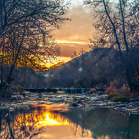 Pool of Arda river at sunset
