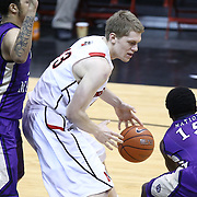 Scott Eatherton #43 of the Northeastern Huskies with the ball during the game at Matthews Arena on January 29, 2014 in Boston, Massachusetts . (Photo by Elan Kawesch)