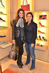 Left to right, CHRISTINA ESTRADA JUFFALI and ALLEGRA DONN at a breakfast at Roger Vivier, 188 Sloane Street to view the SS2014 Roger Vivier collections held on 20th March 2014.