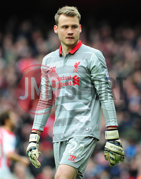 Simon Mignolet  of Liverpool - Photo mandatory by-line: Alex James/JMP - Mobile: 07966 386802 - 04/04/2015 - SPORT - Football - London - Emirates Stadium - Arsenal v Liverpool - Barclays Premier League