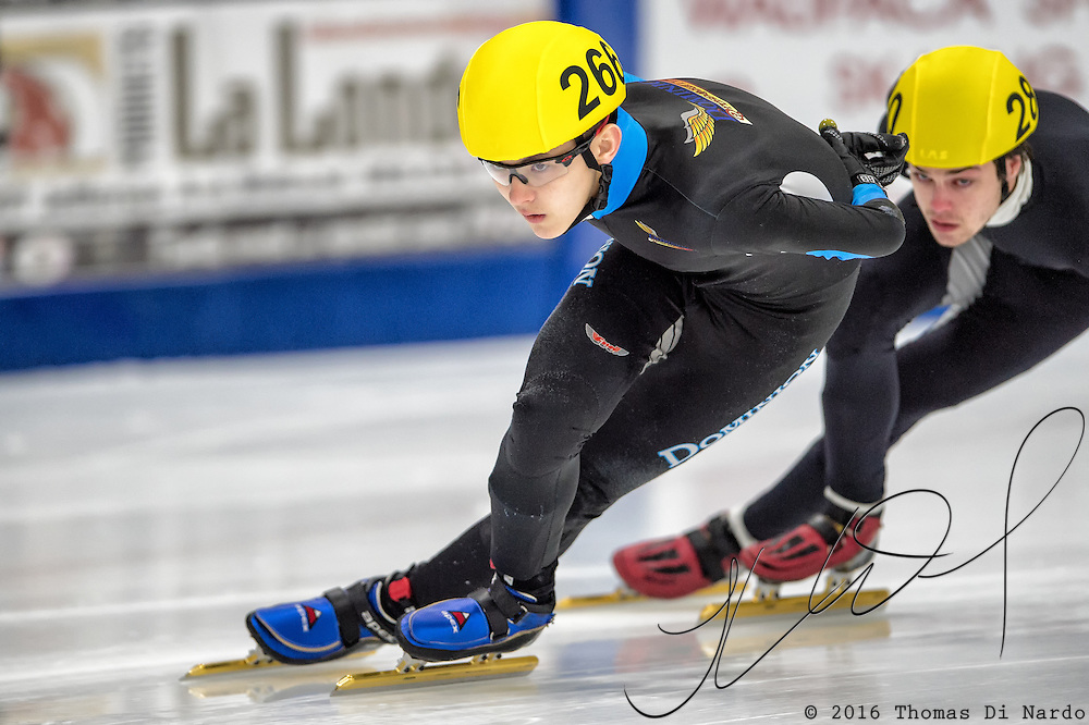 March 18, 2016 - Verona, WI - Luca Lim, skater number 266 competes in US Speedskating Short Track Age Group Nationals and AmCup Final held at the Verona Ice Arena.