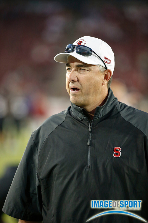 Oct 5, 2013; Stanford, CA, USA; Stanford Cardinal special teams coordinator Pete Alamar prior to game against the Washington Huskies at Stanford Stadium. Stanford defeated Washington 31-28.