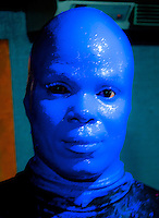 New York, New York City.  A Blue Man from the Blue Man Group.