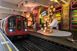 "© Licensed to London News Pictures. 07/06/2018. LONDON, UK.  A new artwork ""my name is lettie eggyscrub"", by British artist Heather Phillipson, is unveiled at Gloucester Road Underground station filling the 80m platform.  The installation is a major commission for Art on the Underground.  Photo credit: Stephen Chung/LNP"