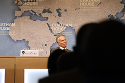 April 18, 2018 - London, United Kingdom - Former British Prime Minister Tony Blair, at the Chatham House think-tank in London on 18 April, 2018, where he was chairing a discussion with Gambian President Adama Barrow. (Credit Image: © Dominic Dudley/Pacific Press via ZUMA Wire)