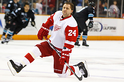 March 3, 2011; San Jose, CA, USA;  Detroit Red Wings defenseman Ruslan Salei (24) warms up before the game against the San Jose Sharks at HP Pavilion.  San Jose defeated Detroit 3-1. Mandatory Credit: Jason O. Watson / US PRESSWIRE