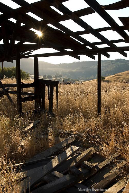 A falling down building at Cronan Ranch, California