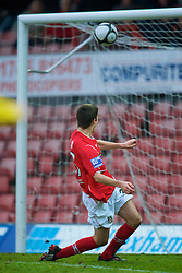 WREXHAM, WALES - Saturday, February 14, 2009: Wrexham's Ryan Flynn, on loan from Liverpool, scores the second goal against Grays Athletic during the Blue Square Premier League match at the Racecourse Ground. (Mandatory credit: David Rawcliffe/Propaganda)