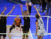 Pepperdine Waves outside hitter Michael Wexter (1) attempts to hit the ball past Princeton Tigers outside hitter Kendall Ratter (6) during an NCAA Championships opening round match, Wednesday, April 30, 2019, in Long Beach, Calif. Pepperdine defeated Princeton 25-23, 19-25, 25-16, 22-25, 15-8.