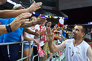 SO Poland athlete Janusz Szkurlat thanks to supporters  during basketball match between SO Poland and SO Portugal while basketball tournament during fifth day of the Special Olympics World Games Los Angeles 2015 on July 29, 2015 at Galen Centre University of Southern California in Los Angeles, USA.<br /> <br /> USA, Los Angeles, July 29, 2015<br /> <br /> Picture also available in RAW (NEF) or TIFF format on special request.<br /> <br /> For editorial use only. Any commercial or promotional use requires permission.<br /> <br /> Adam Nurkiewicz declares that he has no rights to the image of people at the photographs of his authorship.<br /> <br /> Mandatory credit:<br /> Photo by © Adam Nurkiewicz / Mediasport