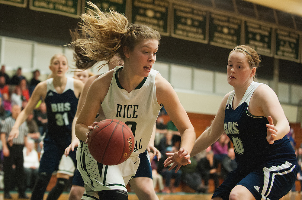 Rice's Stephanie Langlais (10) dribbles the ball during the girls basketball game between the Burlington Sea Horses and the Rice Green knights at Rice Memorial high school on Thursday night February 18, 2016 in South Burlington. (BRIAN JENKINS/for the FREE PRESS)