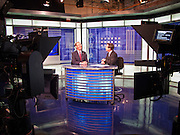 22 OCTOBER 2010 - PHOENIX, AZ: Terry Goddard participates in a taping of Sunday Square Off with host Brahm Resnik at the KPNX studios in Phoenix, Friday, Oct 22. Goddard and Gov Brewer were invited to tape Sunday Square Off but Brewer chose not to. Goddard lost the election to sitting Governor Jan Brewer, a conservative Republican.     PHOTO BY JACK KURTZ