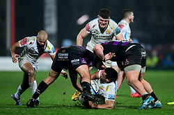 Elvis Taione of Exeter Chiefs is challenged by Gloucester Rugby - Mandatory by-line: Ryan Hiscott/JMP - 14/02/2020 - RUGBY - Kingsholm - Gloucester, England - Gloucester Rugby v Exeter Chiefs - Gallagher Premiership