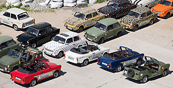Trabant cars of the Trabi Safari parked in Berlin, Germany