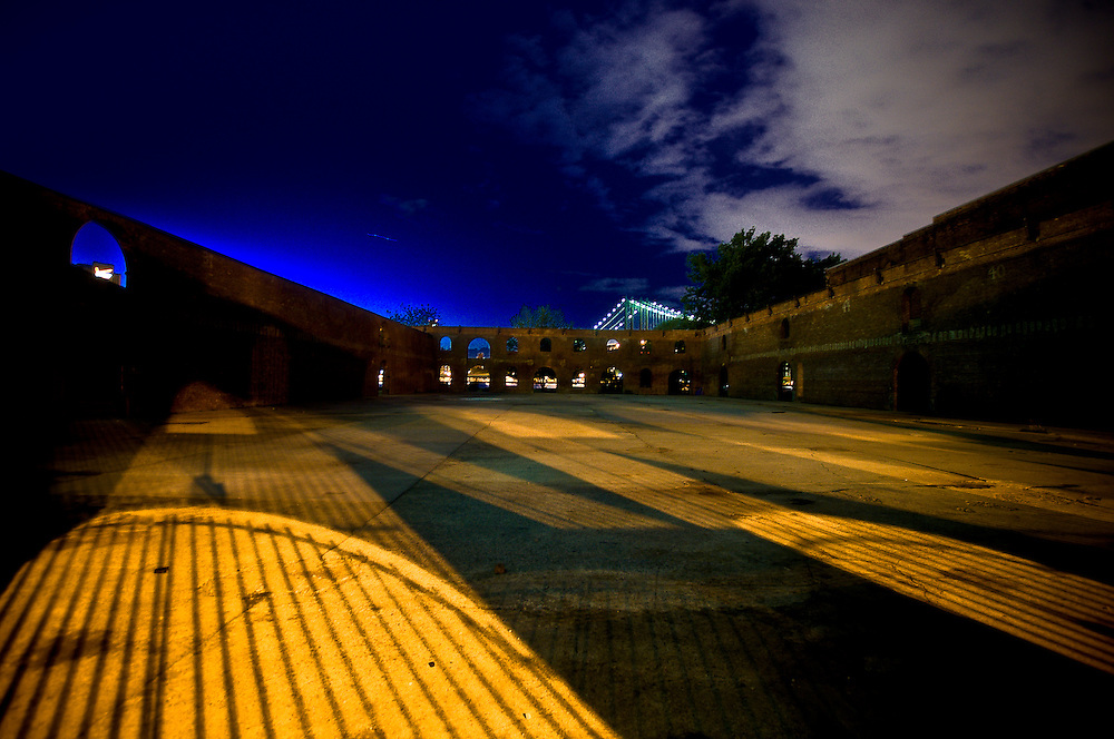 Interior of the old tobacco warehouse by night in DUMBO, Brooklyn, new York, 2010.
